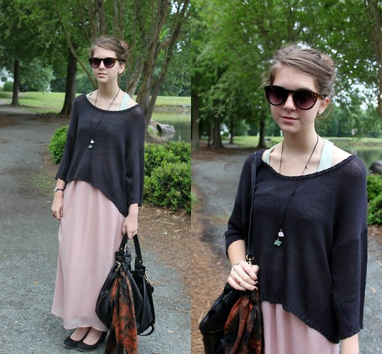 Megan Braaten - Cheap Monday Over Sized Black Knit, Urban Outfitters Leopard Shades, Pins And Needles Light Pink Maxi - Cheap Monday!
