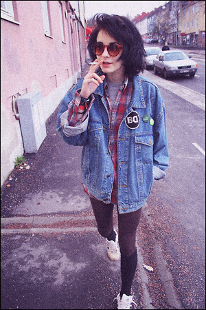 Jerina Laaksonen - 2:Nd Hand Jeans Jacket - Smoking cigarettes and walking on the street