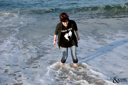 Gina S. - American Apparel Cardigan, Gift Cold Cave T Shirt, Bdg Acid Wash Jeans - Followed by the waves.