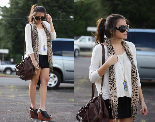 Alyssa J. - Chanel Sunglasses, Random Leopard Scarf, Jeffrey Campbell Wedges - Here i am