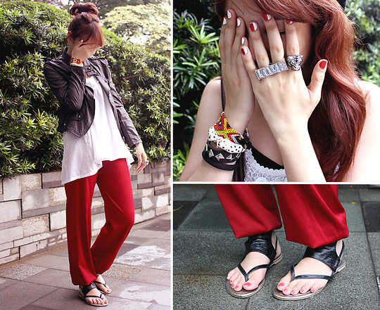 Bea Benedicto - My Dresser Random Bangles, Hdy Black Sandals, Thrifted Biker Jacket, Thrifted Genie Red Pants, Thrifted White Long Top, Sm Department Store Love Connector Ring, Divisoria Cave Of Wonders Ring - Thrift Street