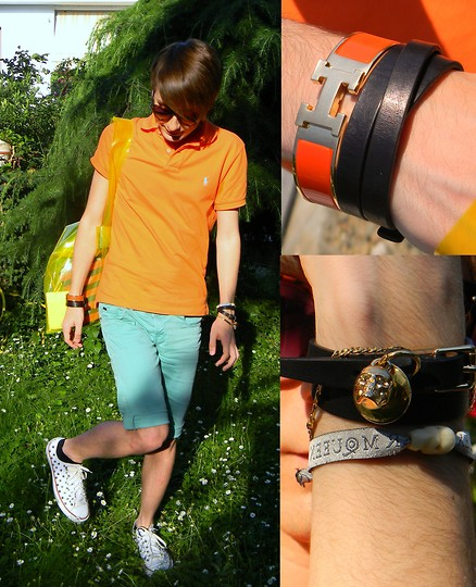 Gianluca OM - Ralph Lauren Orange Polo, Hermès Orange Bangle, Alexander Mcqueen Skull Bracelets, Zara Short, H&M Pvc Bag - Hermès vs McQueen