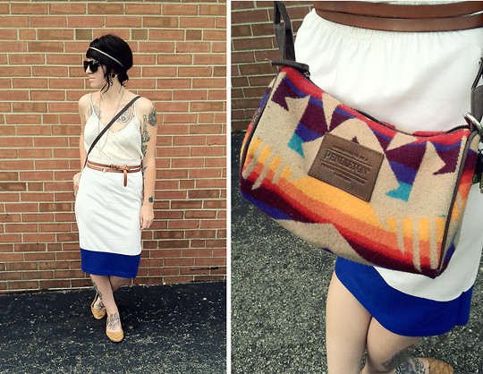 Jessie Barber - Kimchi Blue Brown Basket Weave Skimmers, Pendleton Dopp Bag, Forever 21 Headband, Uo Tortoiseshell Wayfarers, Diy Mineral Necklace, Worthington Sheer Chiffon Tank, Bdg Double Wrap Belt, Diy Altered Pencil Skirt - White Out.