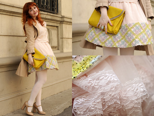 Ioa G - Juicy Couture Nude Trench, H&M Rose Top, American Apparel White Tights, Topshop Mary Janes, Asos Yellow Clutch, Manoush Petticoat Skirt - Petticoats and B*day wishes