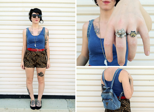 Jessie Barber - Urban Outfitters Wolf Ring, Found On The Ground At Work. Felix Cat Ring, Route 66 Denim Mini Backpack, Urban Outfitters Tortoiseshell Wayfareres, Diy Crystal Mineral Necklace, Mossimo Blue Tank, Thrift Store Red Elastic Belt, Nome De Plume Yaya Leopard Print Shorts, Kimchi Blue Black Skimmers, Revlon Just Bitten Lipstain In Gothique, Forever 21 Braided Headwrap - Red, White and Leopard