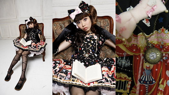 Zairai Chen - Angelic Pretty Pink Tulle Panier, Baby The Stars Shine Bright White Drawers, Choco Mint Star Brooch/Hair Pin, Angelic Pretty Star Night Theater Op, Baby The Stars Shine Bright Black Long Gloves, Angelic Pretty Star Night Theater Ribbon Head Bow, ‎Pocket Watch - Star Night Doll