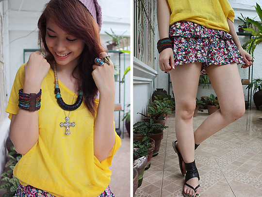 Bea Benedicto - Baguio Tiangge Old Rose Beanie, Thrifted Loose Yellow Top, Apartment Floral Skort, Sister Tribal Necklace, Forever 21 Cross Necklace - The Last Of Summer
