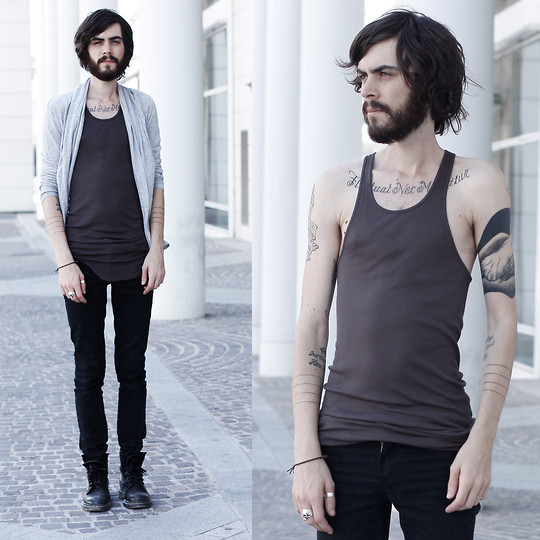 Tony Stone - Rick Owens Tank Top, Cheap Monday Black Slim Pants, H&M Cardigan, Dr. Martens Black Docs - TANK