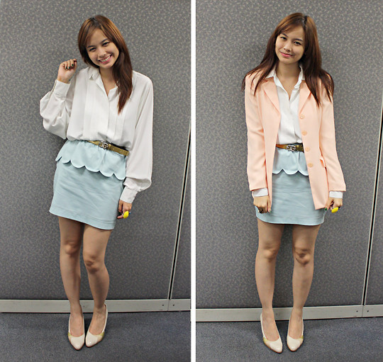 Bea Benedicto - Polo White, Details Seafoam Green Skirt, Thrifted Peach Blazer, Greenhills Giant Yellow Ring, Céline Beige, Pink, And Gold Shoes - Colorful Corporate