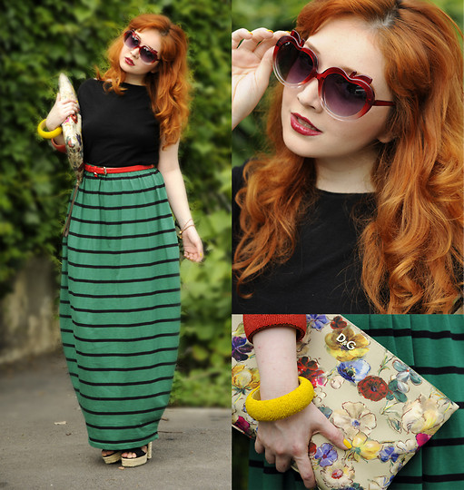 Ioa G - D&G Flower Print Clutch, Asos Apple Shape Glasses, Stefanel Basic Black Top, Musette Patent Red Belt, Asos Green Stripes, Asos Wedges, Stefanel Bracelets - Life through apple shaped glasses