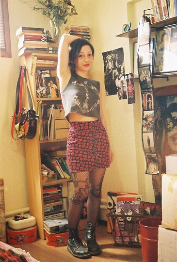 ☾  Nocticula Hekate ♆ - Dr. Martens Boot, Skirt, Lips On It, Tea And Cake Cropped Top Bones - I'm a collector of lil things