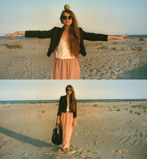 Megan Braaten - Urban Outfitters Women's Cropped Blazer, Urban Outfitters Creme Tank, Urban Outfitters Pink Maxi Skirt, Urban Outfitters Over Sized Leather Bag - Starve the ego, feed the soul!