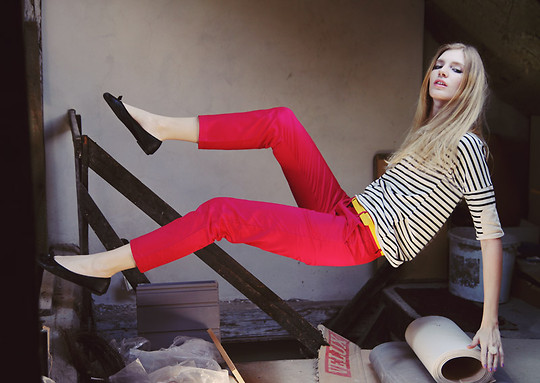 Zuzi * - Hot Pink Pants, Striped T Shirt, Ring - It's all about the hot pink pants