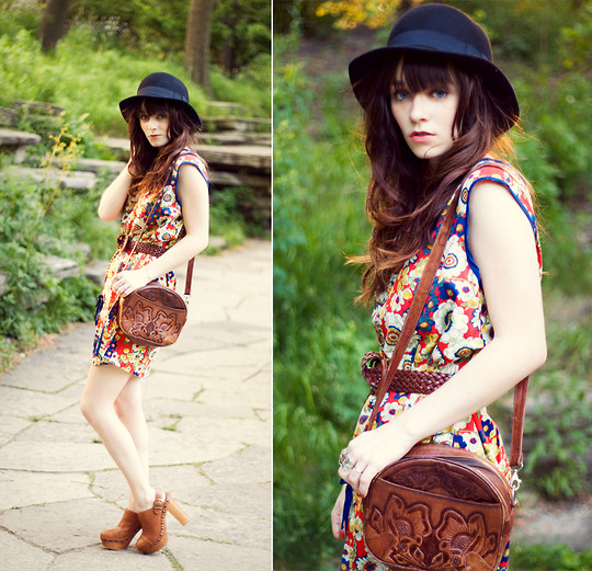Rachel-Marie Iwanyszyn - H&M Bowler, Vintage 60's Cotton Floral Dress, Vintage Woven Belt, Vintage Purse, Steve Madden Clogs, Http://Www.Jaglever.Com - I could be dreaming it...