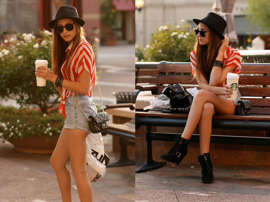 Bethany Struble - Red Striped Tie Up Blouse, Levi's® Vintage Levis, Thrifted Fedora Hat, Steve Madden Black Military Boot, Bobbys Closet Vintage Shades - Late Afternoon Coffee Date