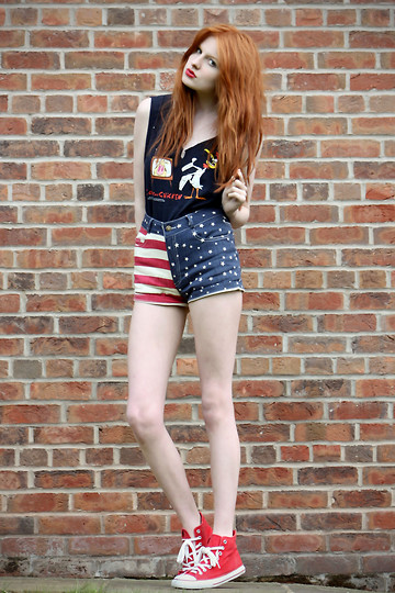 Olivia Emily - Universal Studios Cow And Chicken Top, Flag Shorts, Converse Really Wish I Had Nice Real - All-American