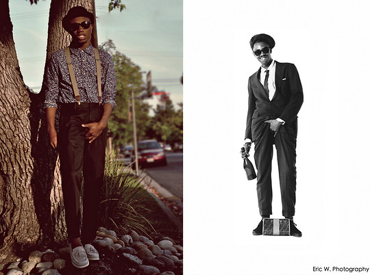 Brandon Chase - Speckle Print Botton Up, Vintage Shades, Suspenders, Trousers, Canvus Tassel Loafers, Bowler Cap - Toslicktorule