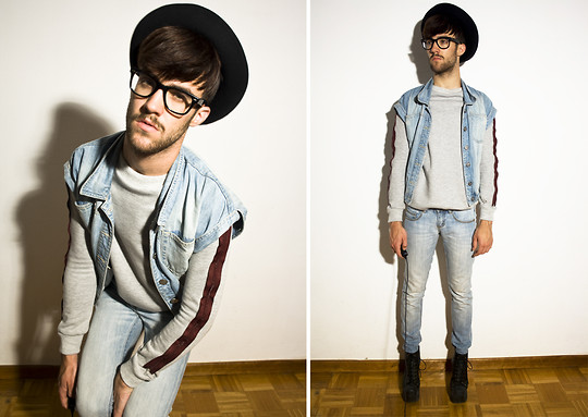 Javier Sendin - Javier Sendin Sweater, Blanco Jeans, Mango Denim Vest, Jeffrey Campbell Boots, Vintage Hat - Perfect match.