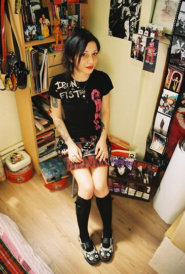 ☾  Nocticula Hekate ♆ - Iron Fist Clothing T Shirt, Sex Pot Revenge Tartan Patterned Punk Skirt, Calzedonia Black Bow Socks, Tuk Chequered Kitty Sneakers - Francis Felidae