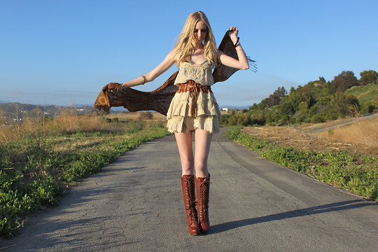 Amber Saylor - Jeffrey Campbell Lace Up Boots, Leather Bound Tier Skirt - He's the message; I'm the runner.
