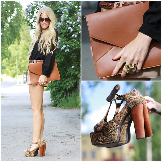 Anna Wiklund - Oversize Clutch, Shorts, Blouse With Lace Back, Jeffrey Campbell Foxy Heels, Johannan Gwang Ring - YOU AND ME