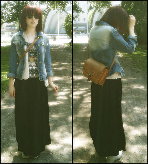 Johanna Kronholm - My Lovely Mum´S Old Leather Bag, Lindex Beige Fabric Shoes/Boots, Lindex Brown Sunglasses, Second Hand Jeans Jacket, My Super Duper Grandmother Knitted Vest, Gina Tricot Patterned Tank Top, Second Hand Long Blak Skirt - IN THE PARK