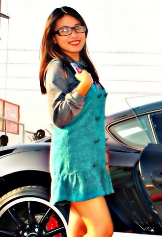 Jane Aguilar - Department Store Cotton Turtlenecks, Ray Ban Eyeglasses, Taboo Sea Green Button Dress - Porsche Cayman
