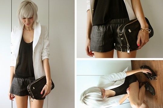 Sietske L - Zara Blazer, Vintage Leather Shorts, Topshop 'Sheered' Tanktop, H&M Choker, Zara Clutch, H&M Bracelets - LEATHER SHORTS.