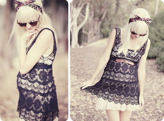 Kelli Murray Larson - Anthropologie Crochet Dress/Top, Free People Skirt - BLACK LACE AND A BUMP