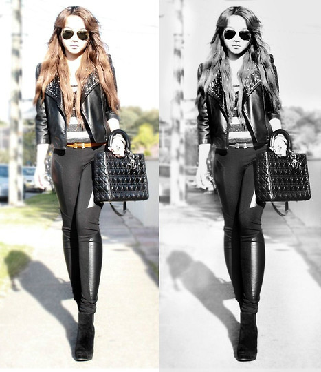 Kady Ta - Christian Dior Lady Handbag, Hermës Hermes Belt, Studded Leather Biker Jacket, Bardot Leather Legging - The old me is dead and gone !