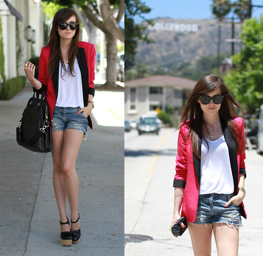 Andy T. - Opening Ceremony Shoes, Givenchy Bag, Zara Blazer, Céline Sunnies - HOLLYWOOD