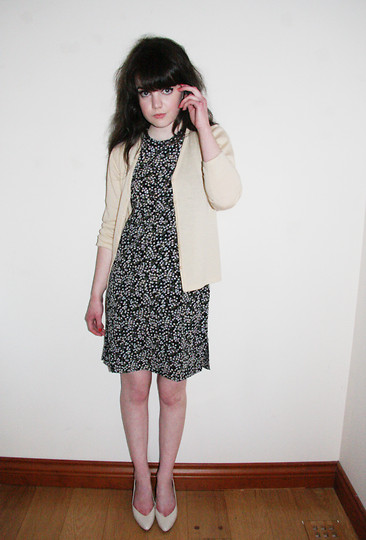 Abbey - Charity Shop Cream Cardigan, Charity Shop Floral Shift Dress, Mum's Closet Cream Kitten Heels - REPULSION