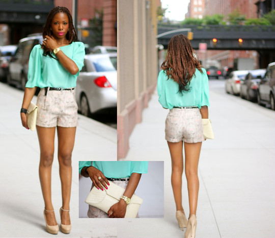 Opal S - American Apparel Top, H&M Shorts, Aldo Heels, Vintage Clutch - Wild hearts can't be broken