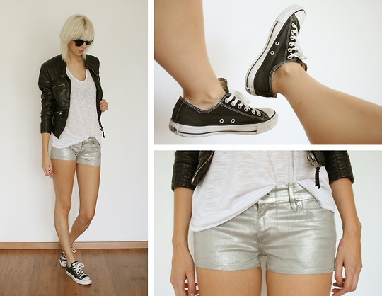 Sietske L - Only Edge Collection Leather Jacket, H&M Silver Shorts, Monki 'Sheered' Tanktop, Converse Sneakers - SILVER.