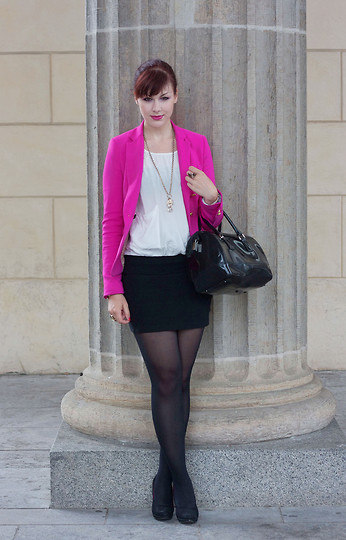 Jen Z - Zara Blazer, Furla Candy Bag, Zara Blouse, H&M Skirt - Mercedes Benz Fashion Week 2: Pink it up
