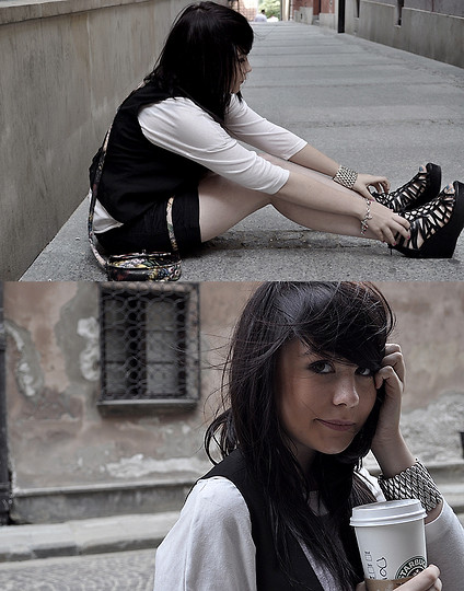 Demi Baranowska-Surzyn - H&M Black Wedges, Cubus Shorts, Stradivarius Gossip Girl Blouse - She was such a good girl to me.