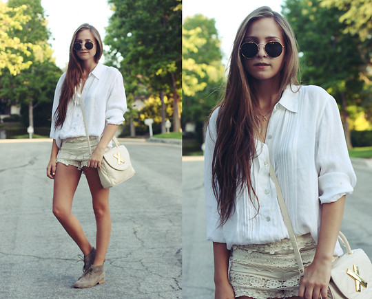 Bethany Struble - Crochet Lace Shorts, Dolce Vita Suede Shoes, Thrifted White Silk Button Up, Thrifted White Leather Bag - Take It From Me