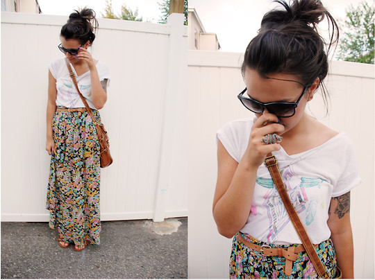 Kayla Castro - H&M Floral Maxi Skirt, Volcom T Shirt, Betsey Johnson Sunglasses, Aldo Snake Ring - Trouble on my mind