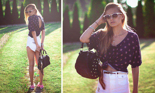 Cathy Gładysz - Stradivarius Top, H&M Shorts Diy, Primark Bag, Converse Shoes, Primark Glasses - ★ stars on the top and shoes ★