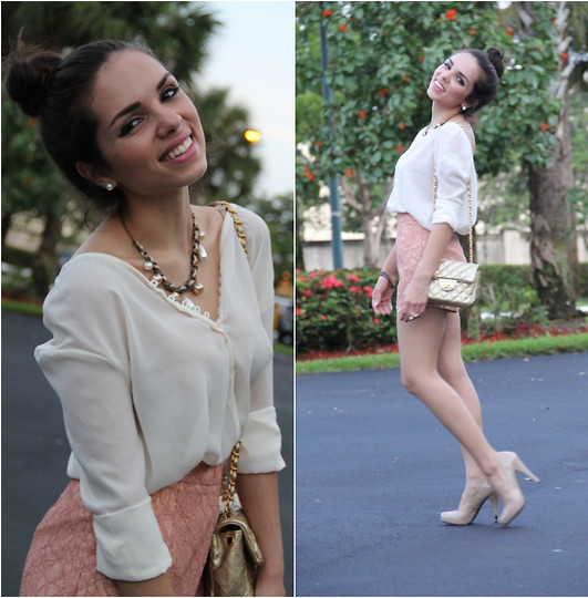 Daniela Ramirez - Mimi Boutique Necklace, Furor Top, Forever 21 Shorts, Steve Madden Shoes, Mimi Boutique Bag - Pearls and lace