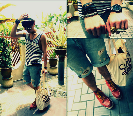 Adrian Jiun - H&M Leather Stripe, H&M Black Pearl Skull, Defy Skull Ring, Defy Piano Ring, Vintage Fedora, Cotton On Navy Blue Stripes Top, Levi's® Levi's Jeans, Redwing Red Wing Leather Shoes, Nil Recycle Bag, Fossil Watch - LOOKBOOK deleted my previous post - repost : POOL SIDE PARTY