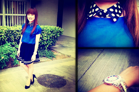 Ashley Liew - Blue Top, Marc By Jacobs Watch, Black & White Polka Dot Collar, Black Felt Pumps, Black Skirt With White Stripes - Stripes & Dots