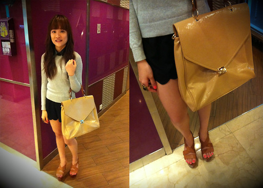 Ashley Liew - Vincci Beige Envelope Bag, Brown Wooden Platforms, Black Leather Collar, Zara Grey Sweater, Bangkok, Thailand Black Scallop Shorts - OK Karaoke