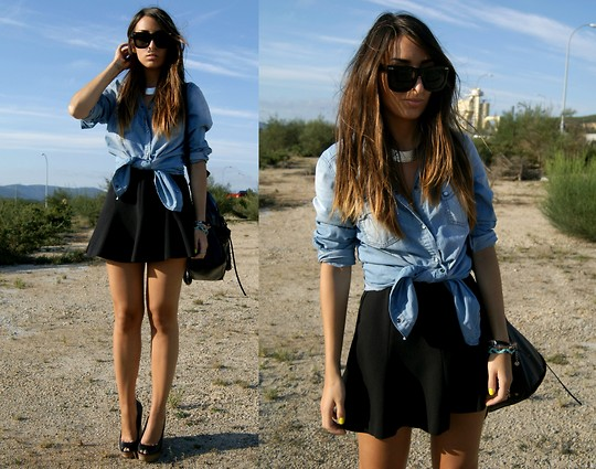 L A - Zara Denim Shirt, Zara Skirt - GIRLY BUT NOT FUSSY