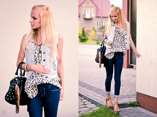 Cathy Gładysz - A&F Lejeans, Topshop Wedges, Zara T Shirt, Zara Vest, Primark Bag - Wedges are my new love
