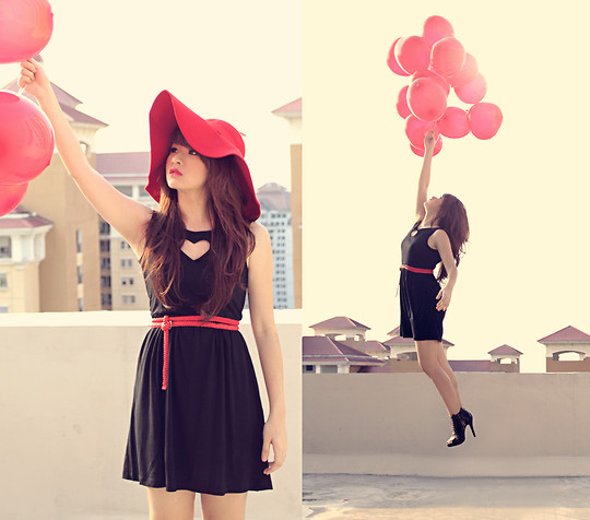 Anastasia Siantar - Mrsclothes Heart Dress, Romwe Floppy Hat, Aldo Shoes - Fly me to your heart