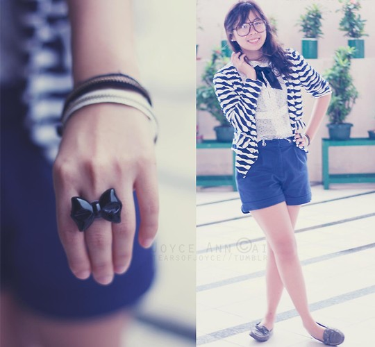 Joyce Cai - Bow Ring, Zipper Bracelets, 168 Mall Blazer, Zara Sheer Top With Peter Pan Collar, Mango Blue Shorts, Charles And Keith Grey Loafers - Totally a school girl