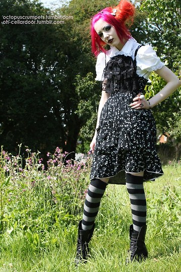 Professor Kunoichi - Surgeon Strawberry Black Dress, Camden Lolita Shirt, Camden Lolita Ruffle, Marks And Spencers Knee Length Stripey Socks, Fancy Dress Shop Sale Platform Heels - Summer time