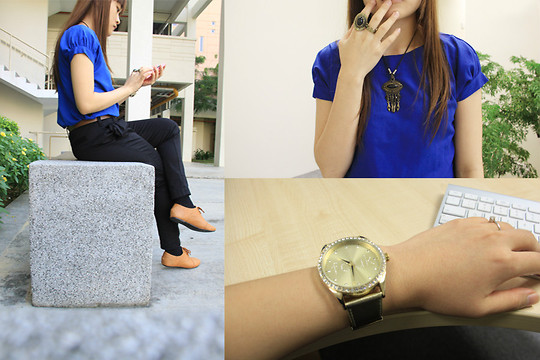 Ashley Liew - French Connection Uk Gold Watch, Johor Bahru, Malaysia Brown Oxfords, Brown Leather Belt, Blue Top, Black Tribal Necklace, Black Tribal Ring, Crown Ring - Best colour for Monday