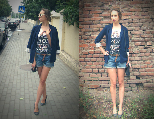 Katerine Shemyakina - H&M Jacket, H&M Shorts, Zara Shoes, Bershka T Shirt - Blast from the past